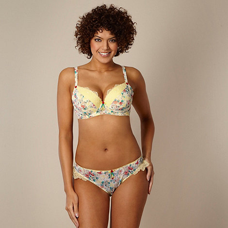 Gorgeous DD+ - Yellow floral chiffon D-G cup balcony bra