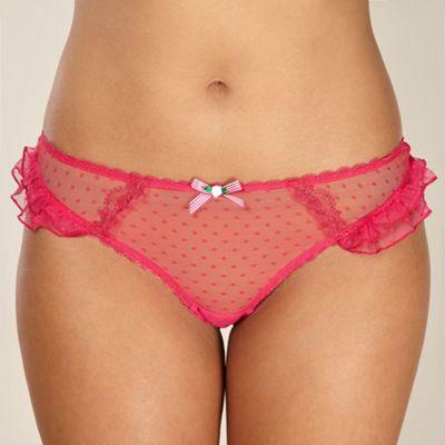 Dark pink meshed thong