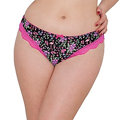 Curvy Kate - Black flamingo print 'Vegas' Brazilian knickers