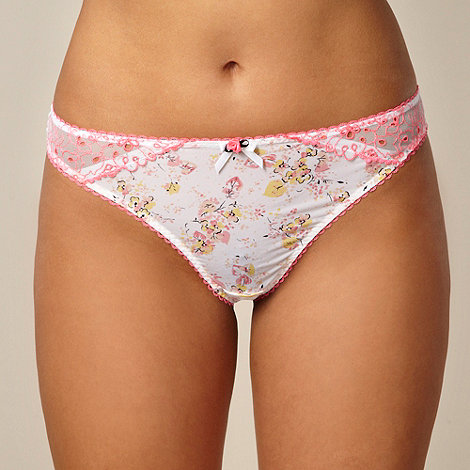 Gorgeous DD+ - Bright pink floral microfibre thong