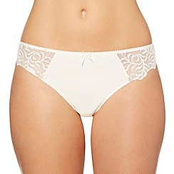 Gorgeous DD+ - Ivory embroidered mesh bridal thong