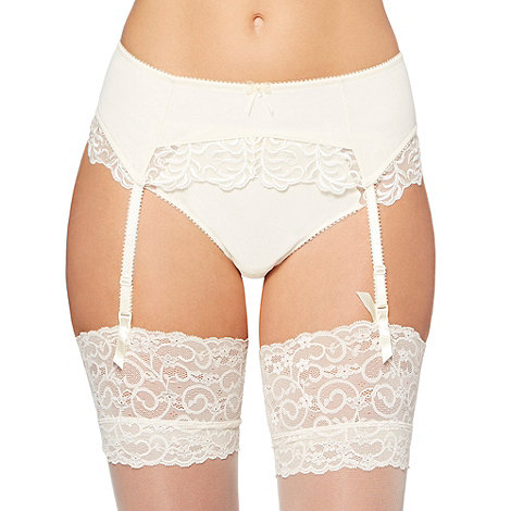 Gorgeous DD+ - Ivory embroidered mesh bridal suspender belt