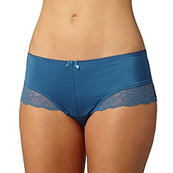 Gorgeous DD+ - Blue lace trim microfibre shorts