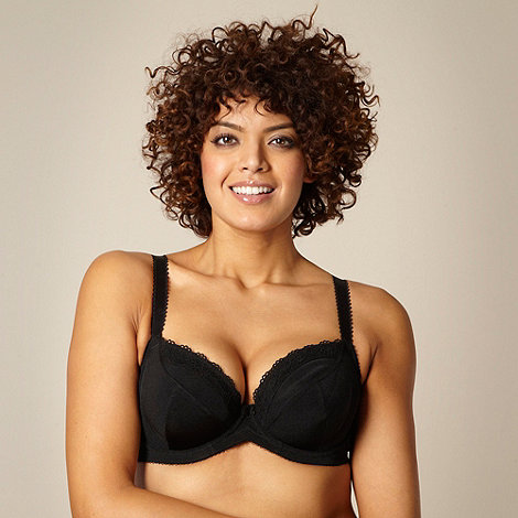 Gorgeous DD+ - Black non padded three-section t-shirt bra