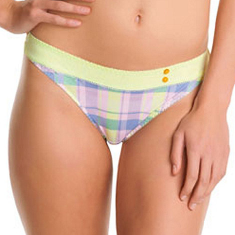 Freya - White tartan checked thong