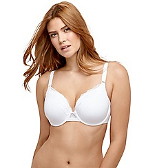 Gorgeous DD+ - White 'Back Smoothing' underwired padded full cup t-shirt bra