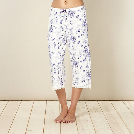 J by Jasper Conran - Designer cream floral cropped jersey pyjama bottoms