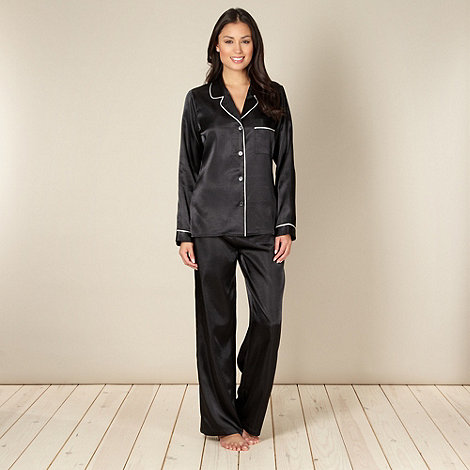 J by Jasper Conran - Designer black satin pyjama set