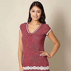 J by Jasper Conran - Designer dark red spotted pyjama top