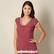 Designer dark red spotted pyjama top