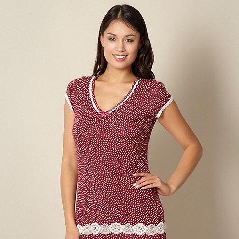 J by Jasper Conran - Designer dark red spotted pyjama top