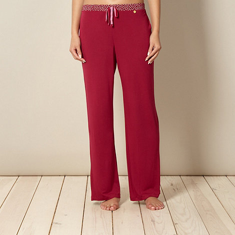 J by Jasper Conran - Designer dark red spotted waist pyjama bottoms