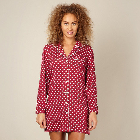 J by Jasper Conran - Designer dark red spotted jersey nightshirt