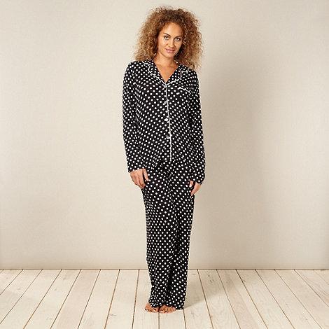 J by Jasper Conran - Designer black spotted jersey pyjamas