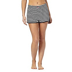 Lounge & Sleep - White and navy striped pyjama shorts