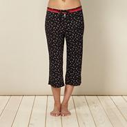 Designer black floral cropped pyjama bottoms