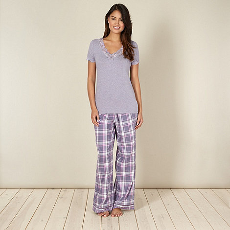 RJR.John Rocha - Designer purple checked pyjama set