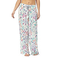 Lounge & Sleep - White 'Maria' floral print bottoms