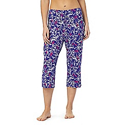 Lounge & Sleep - Blue floral print pyjama bottoms