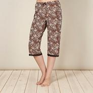 Designer brown animal cropped jersey pyjama bottoms
