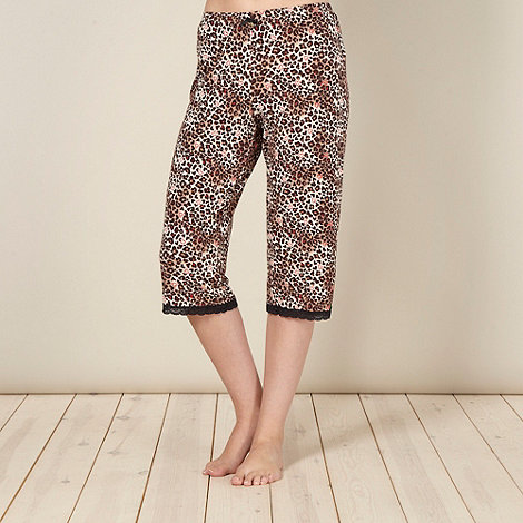 Floozie by Frost French - Designer brown animal cropped jersey pyjama bottoms