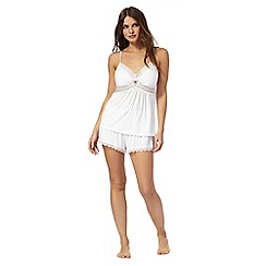J by Jasper Conran - White lace trim cami and shorts set