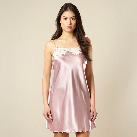 Presence - Pale pink satin lace trim chemise