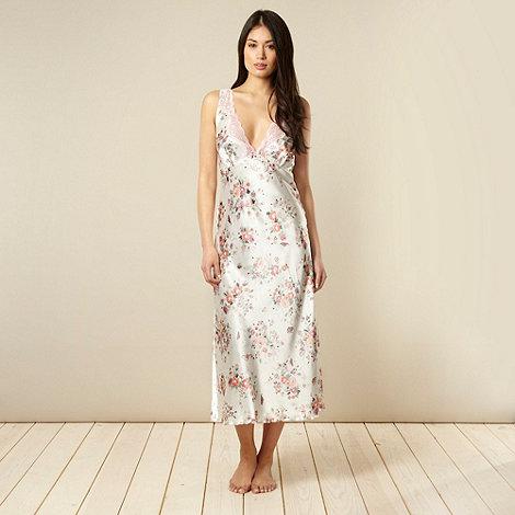 Presence - Cream long floral satin nightdress