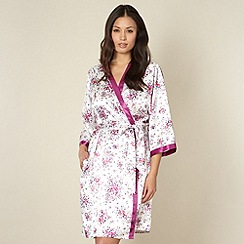 Presence - Purple floral satin kimono