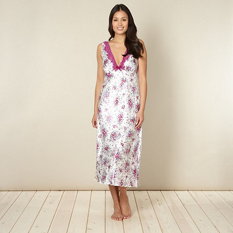 Presence - Purple floral satin nightdress