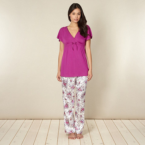 Presence - Purple jersey top and floral bottoms pyjama set