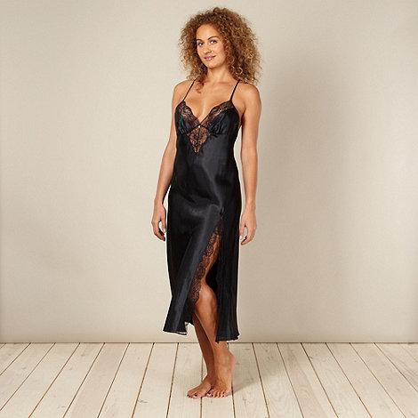 Presence - Black satin lace nightdress