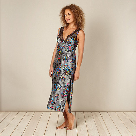 Presence - Grey long floral print nightdress