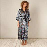Grey long floral print wrap