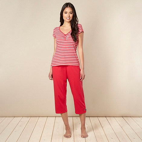 Presence - Red striped cropped pyjama set