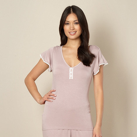 Lounge & Sleep - Light pink lace trim short sleeve pyjama top