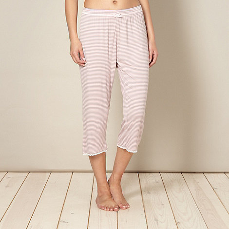 Lounge & Sleep - Pink striped cropped pyjama bottoms