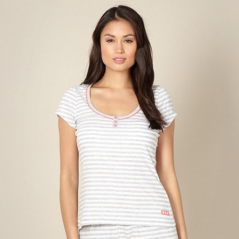 Lounge & Sleep - Grey striped short sleeve pyjama top