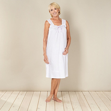 Classics - Lilac 100% cotton striped jersey night dress