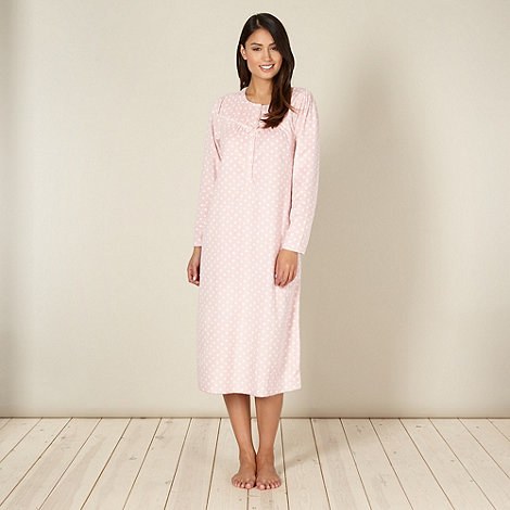 Debenhams Classics - Pink spotted fleece night dress