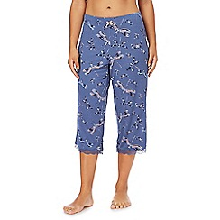 Gorgeous DD+ - Navy 'Flowerfly' print cropped pyjama bottoms