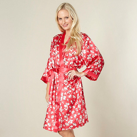 Presence - Red printed satin kimono