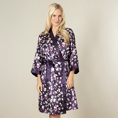 Presence - Purple satin floral print kimono