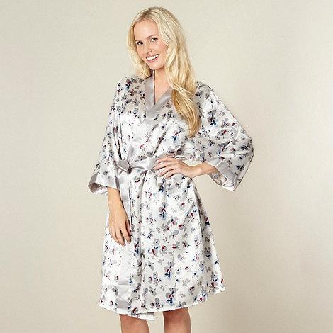 Presence - Online exclusive silver satin floral print kimono