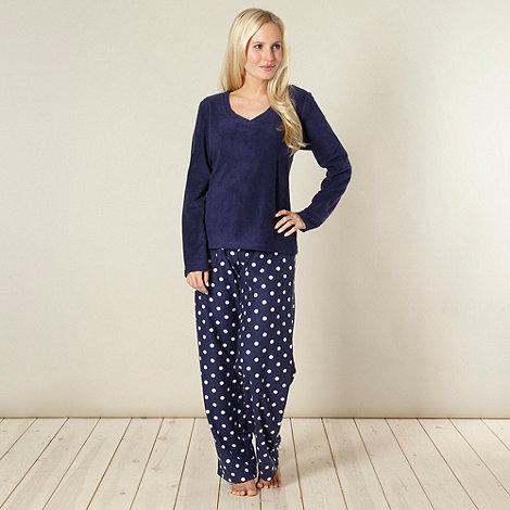 Lounge & Sleep - Online exclusive navy spotted fleece pyjama set