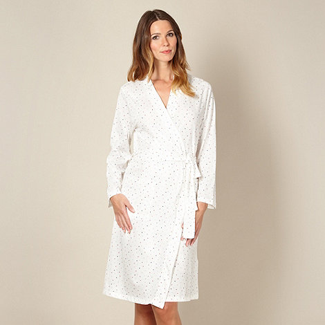 Lounge & Sleep - Cream spotted jersey dressing gown