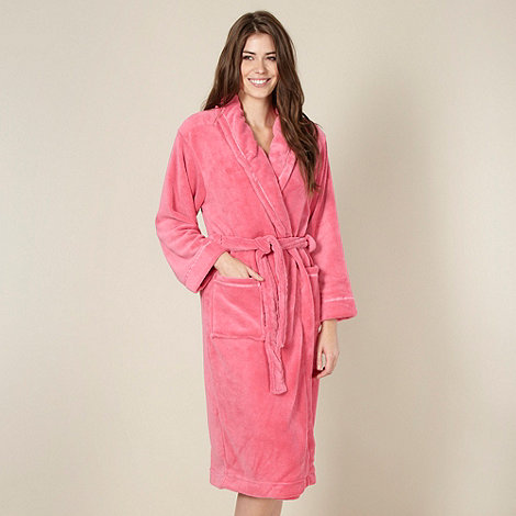 Lounge & Sleep - Bright pink shawl collar fleece dressing gown