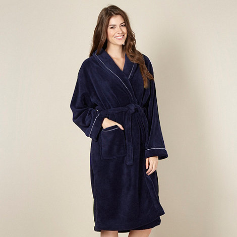 Lounge & Sleep - Navy shawl collar fleece dressing gown