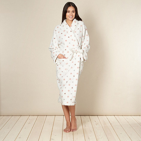 Lounge & Sleep - Cream spotted fleece dressing gown