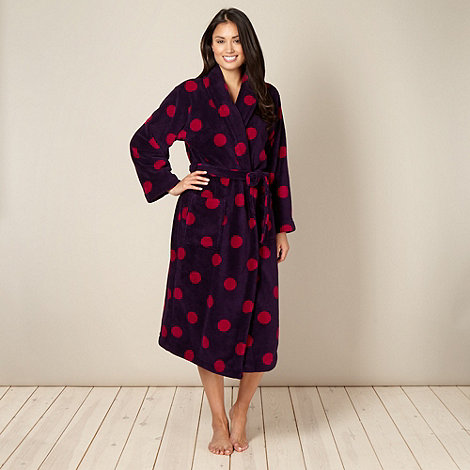 Lounge & Sleep - Dark purple spotted fleece dressing gown
